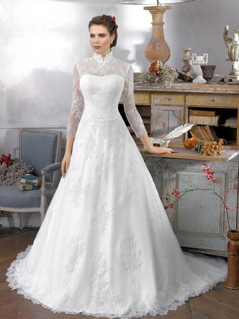 Закрытые свадебные платья с рукавами купить