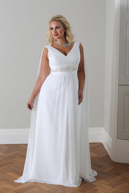 Свадебное платье для полных невест в греческом стиле