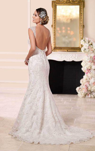 MARSEN Sweetheart Backless Wedding Dress Long Beaded Lace
