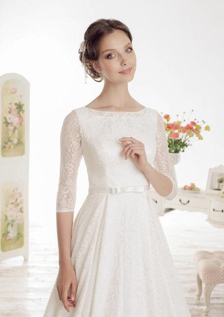 Закрытое прямое свадебное платье