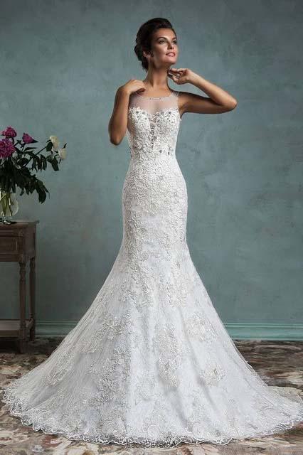 фото свадебного платья фасона рыбка-русалка с кружевом